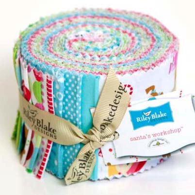 Santa's Workshop Rolie Polie/Jelly Roll-Riley Blake Fabric