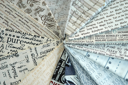 Fabric with words or text