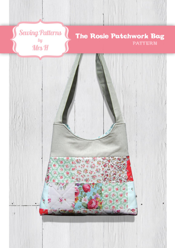 The Rosie patchwork handbag purse bag PDF sewing pattern - Instant Download