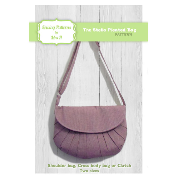 The Stella Pleated handbag purse bag and clutch PDF sewing pattern - Instant Download