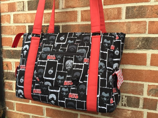 Sew Sweetness Sloan Travel Bag with Walking Dead fabric made by Madelyn