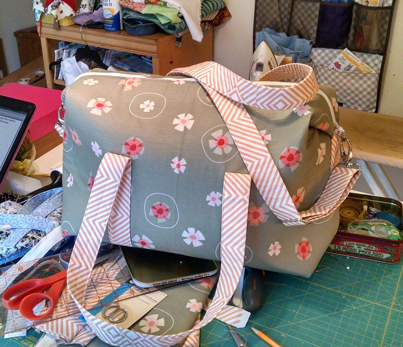 Sew Sweetness Emblem Duffle Bag, sewn by Jackie