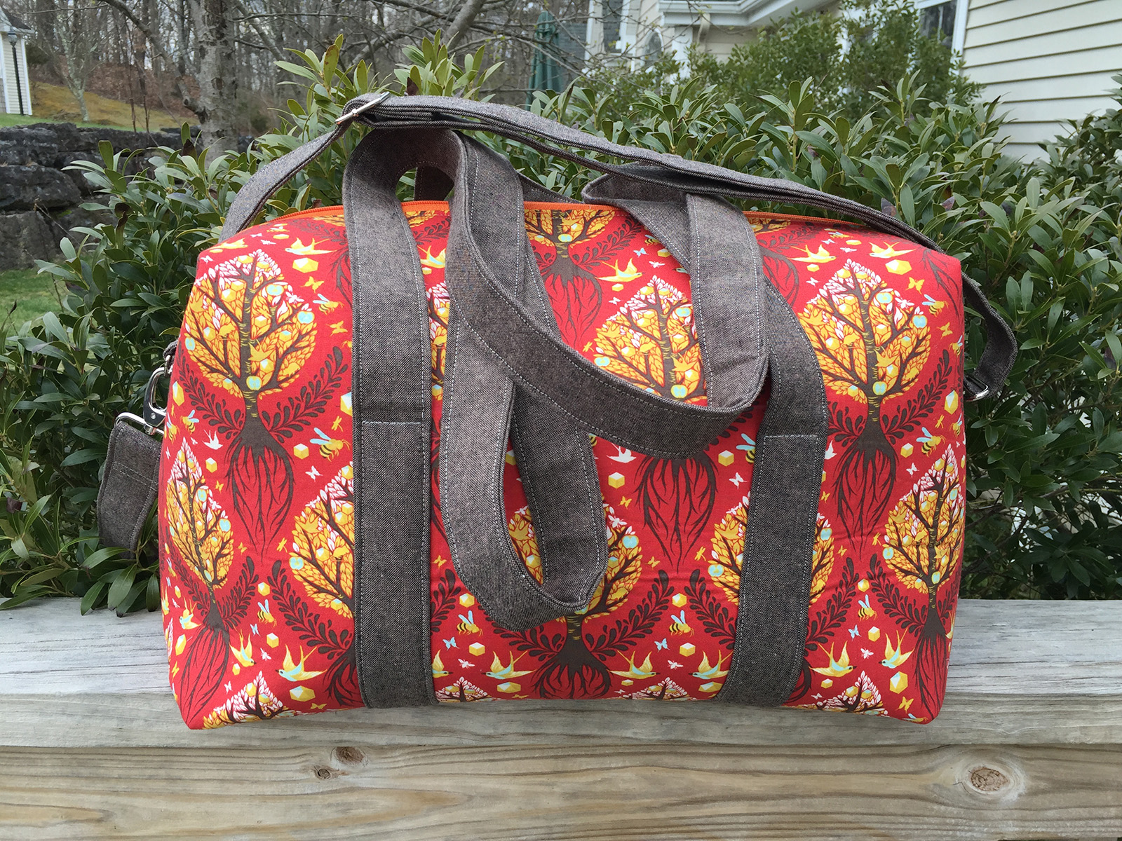 Sew Sweetness Emblem Duffle Bag, sewn by Madelyn