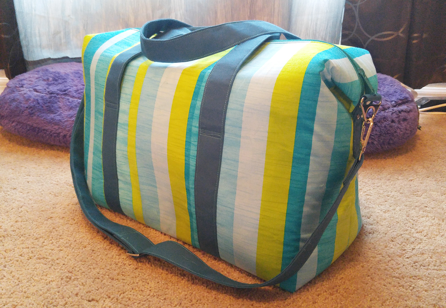 Sew Sweetness Emblem Duffle Bag, sewn by Jamie