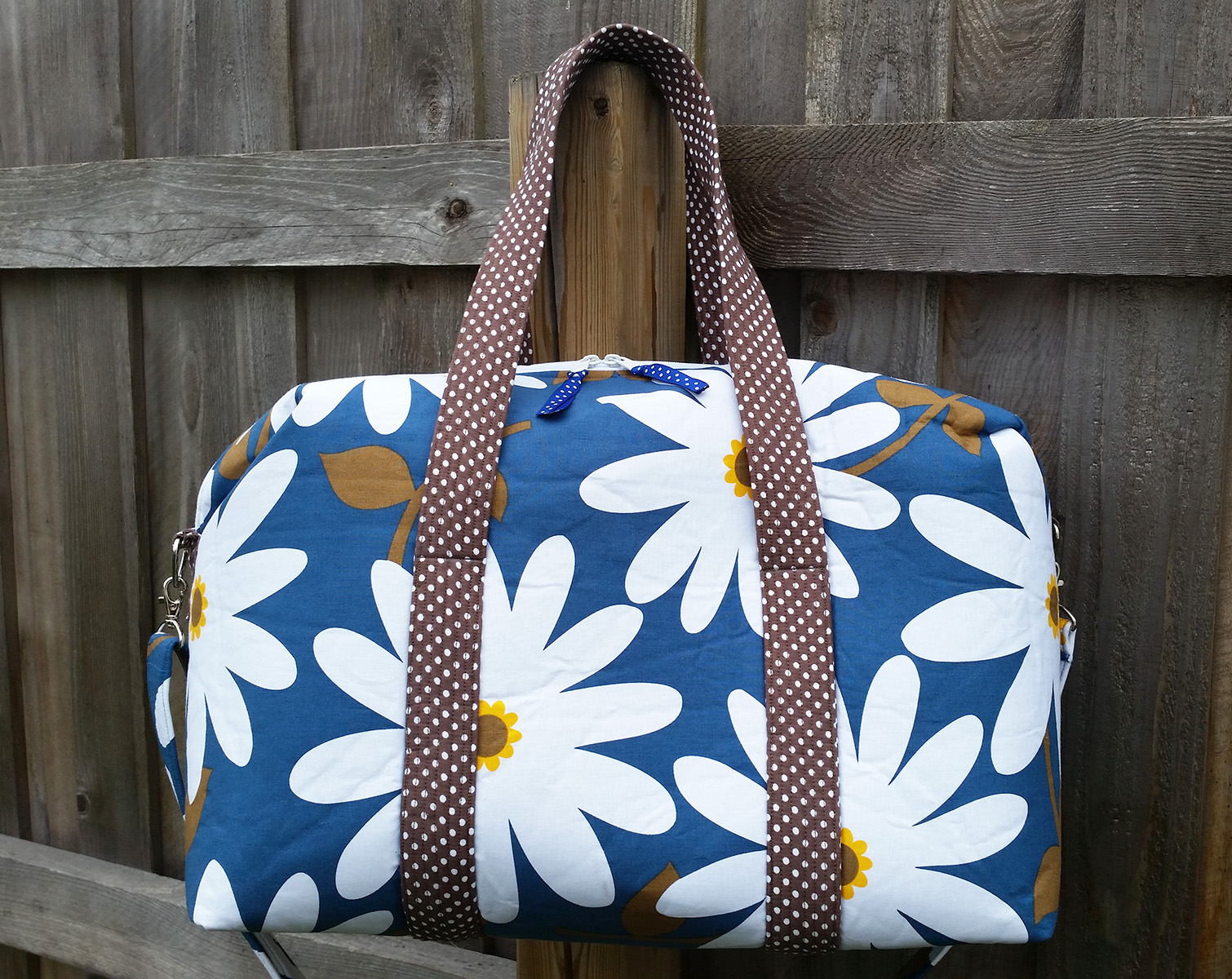 Sew Sweetness Emblem Duffle Bag, sewn by Teresa