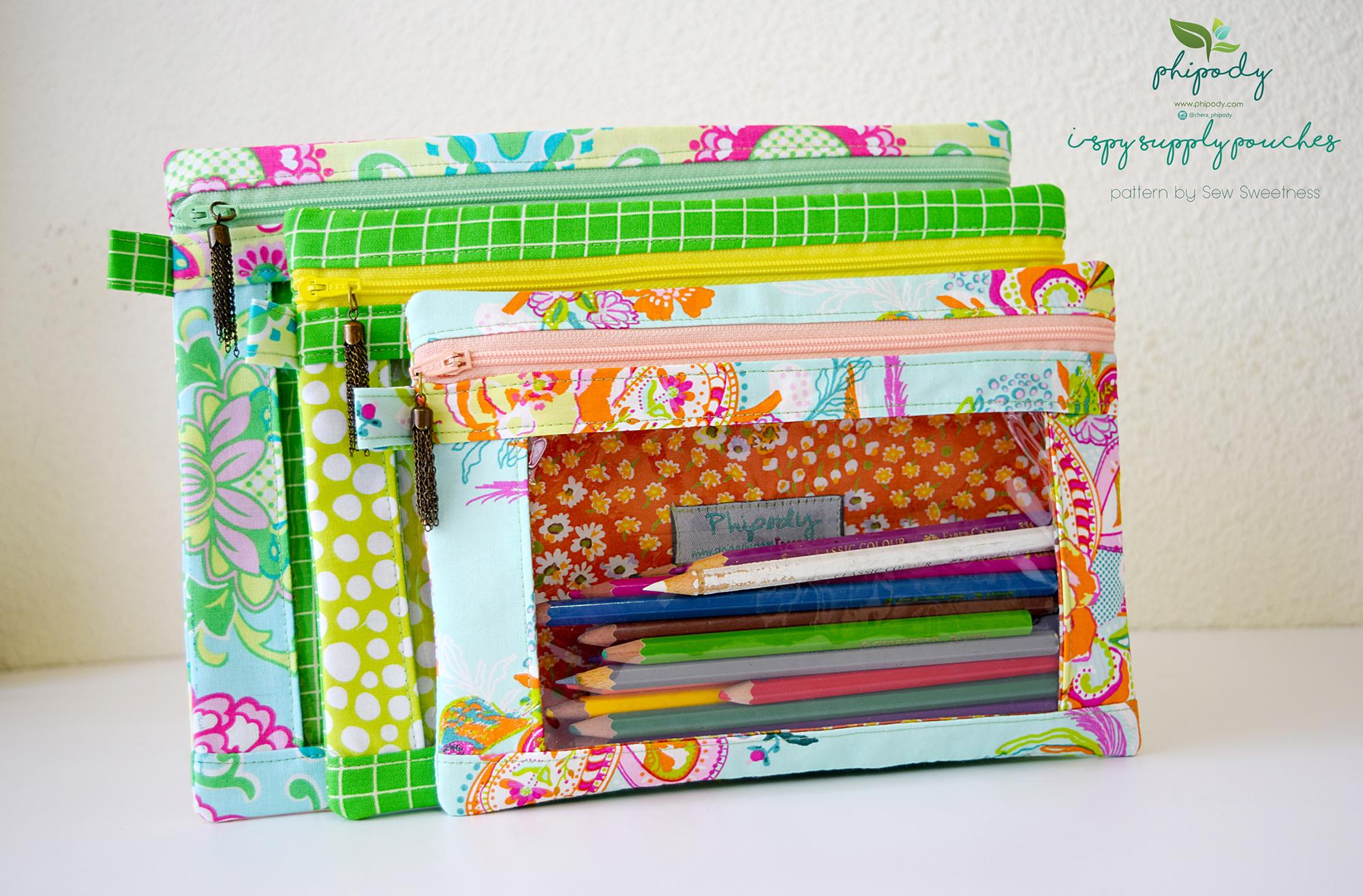Sew Sweetness Minikins I-Spy Pouches sewing pattern, sewn by Chera