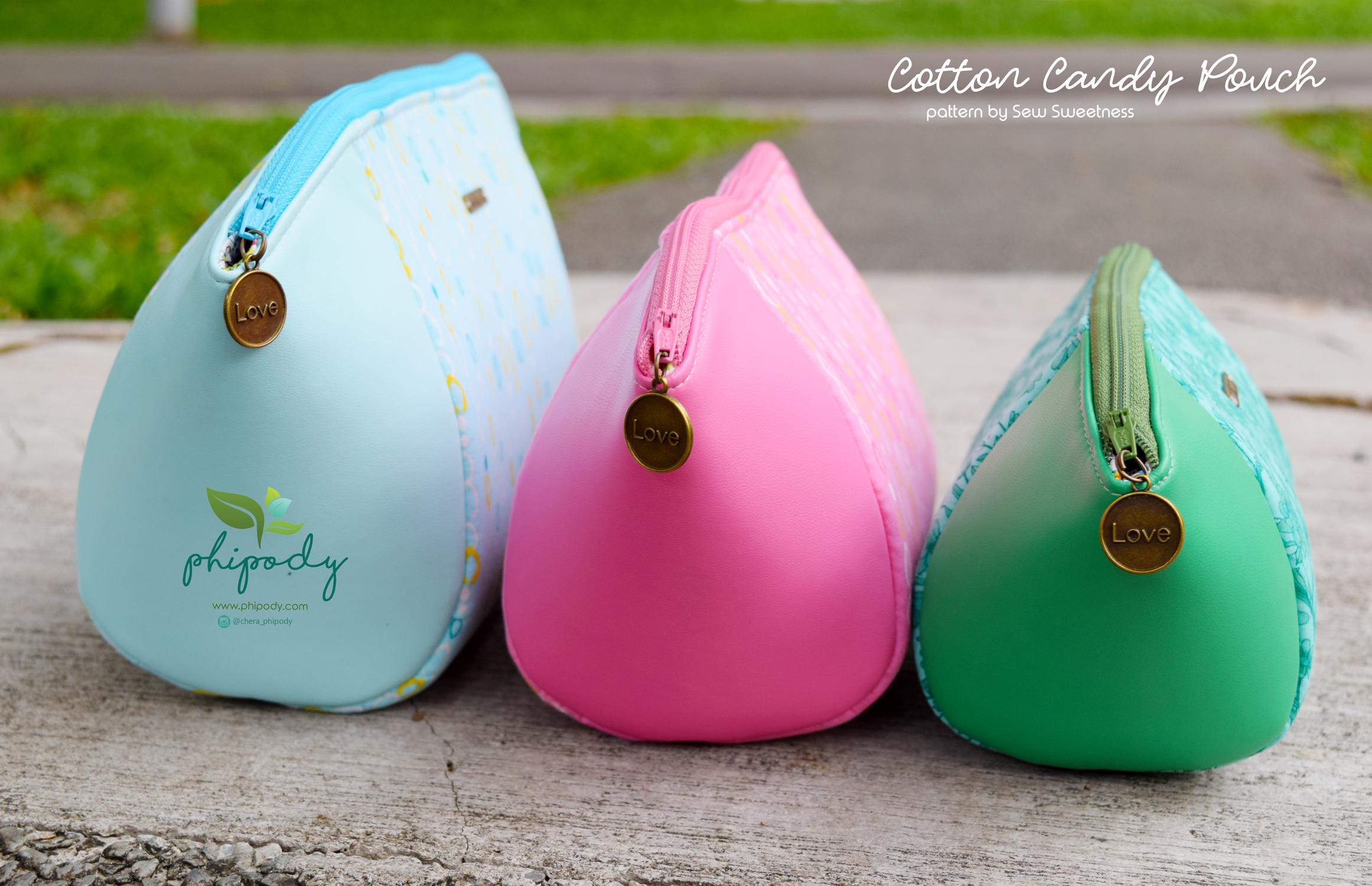 Sew Sweetness Minikins Cotton Candy Pouches sewing pattern, sewn by Chera